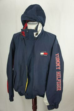 Vintage Tommy Hilfiger Hooded Jacket with Sleeve Spellout Large