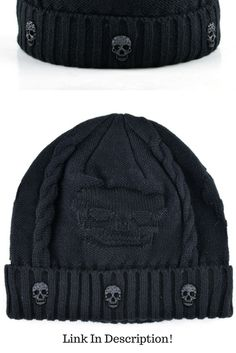Queen of Darkness Red//Black Striped Unisex Beanie with Skull and Crossbones