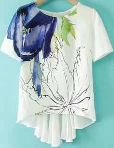 White Short Sleeve Floral Dipped Hem T-Shirt 16.67