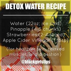 Health Black Girls Tips Detox Water for relaxation and radiant skin. Detox Drinks, Healthy Drinks, Get Healthy, Healthy Skin, Healthy Eating, Healthy Cooking, Clean Eating, Detox Tips, Detox Recipes