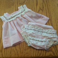 Vintage baby dress, circa 1970's. I have an identical outfit packed away that was a gift to my oldest daughter, who was born in 1975, from her great-grandmother.
