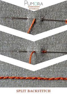 Pumora's embroidery stitch-lexicon: the split back stitch
