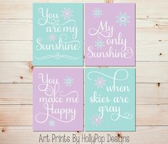 You are My Sunshine Art Prints Purple Aqua Mint Wall Décor Baby Girl Nursery Art Prints by HollyPopDesigns