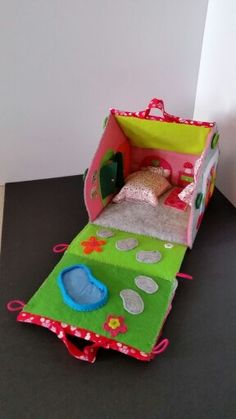 Felt doll house , opened