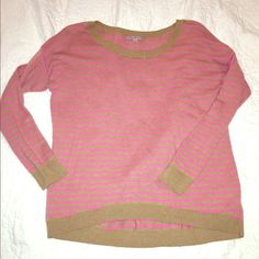 Tan and pink Gap sweater This is in great condition, very soft and comfortable. A very minor amount of pilling, can't really even tell. Excellent with skinny jeans and boots!  Feel free to make an offer  lowballing please. GAP Sweaters