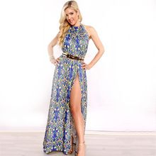 4fb690fa427 2017 Summer Latest Backless Halter Floral 3D Printed Plus Size Women Long  Chiffon Backless Wrap One · Club DressesBeach ...