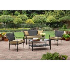 Mainstays Rockview 4 Piece Patio Conversation Set Seats 4 Walmart Patio Conversation Sets