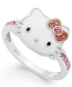 Hello Kitty - Sterling Silver Pink Crystal and Enamel Face Ring. Kawaii so pretty! Hello Kitty Jewelry, Hello Kitty Items, Hello Kitty Stuff, Hello Kitty House, Hello Kitty Clothes, Hello Kitty Accessories, Hello Kitty Nails, Sanrio Hello Kitty, Cat Ring
