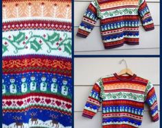Vintage Boy Fair Isle Sweater - 4-5T - Red, Green, Yellow, Blue, White Patterned Christmas Jumper Sweater Laura Ashley