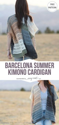 Barcelona Summer Kimono Cardigan Free Crochet Pattern on Easywool.com #crochetfreepatternsforlady #crochetfreepatternforvest #crochetfreepatternfortunic #crochetfreepatternsforponcho #crochetfreepatternsforscarf #crochetfreepatternsforcardigan #crochetcardigan