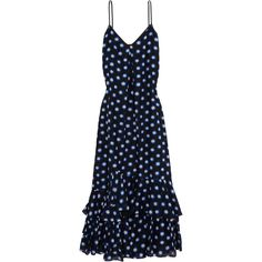 Boutique Moschino Ruffled polka-dot cotton and silk-blend voile maxi... ($300) ❤ liked on Polyvore featuring dresses, vestidos, polka dot maxi dress, tiered ruffle dress, flounce dress, flounce maxi dress and slimming maxi dresses
