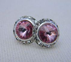 Rose Pink Stud Earrings 13mm Swarovski Rivoli Stud by Greenperidot, $14.50