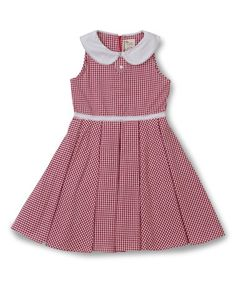Another great find on #zulily! Red Gingham Collar Hepburn Dress - Toddler & Girls #zulilyfinds