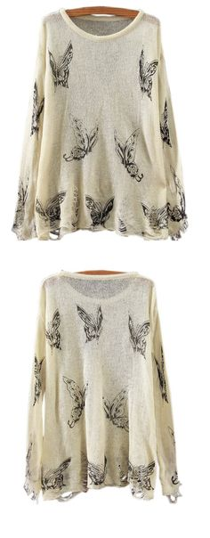 Change another outfits. A knit sweater with butterfly graphic, distressed design, round neckline, long sleeve and loose fit design.