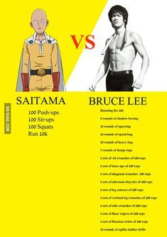 Daily Workout One Punch Man Vs Bruce Lee In 2020 One Punch Man Workout Bruce Lee Workout Martial Arts Workout