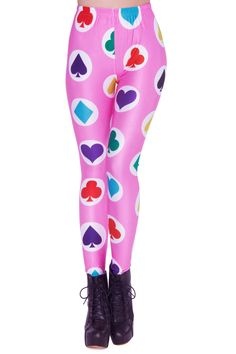 Poker Cards Print Pink Leggings 10.90