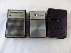 2 Vintage AM Transistor Radios w/Leather Cases