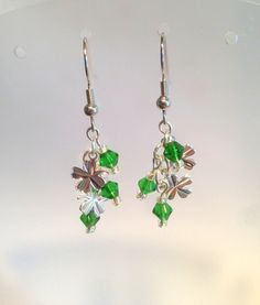 Emerald Swarovski Crystal and Shamrocks by SweetfireCreations Green Earrings, Drop Earrings, Swarovski Crystals, Emerald, Etsy Shop, Make It Yourself, Trending Outfits, Unique Jewelry, Handmade Gifts