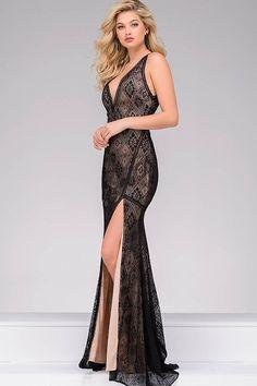 60e75b7b4cc Black High Slit Sleeveless Jovani Dress 33939. Open Back Prom DressesV Neck  Prom DressesLace Evening ...