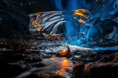 Einar Runar Sigurdsson/Rex Features   Stunning formations inside the ice caves in the Vatnajökull glacier, Iceland
