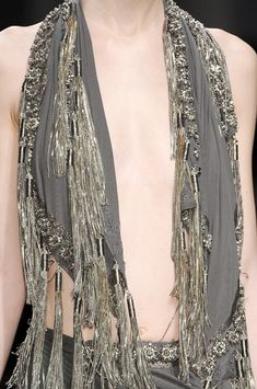 Chain tassel dress detail; closeup fashion // Haider Ackermann