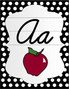 Cursive Alphabet Posters - Black & White Polka Dot with Color Pictures Cursive Alphabet Printable, Alphabet Wall Cards, Cursive Letters, Alphabet Posters, Alphabet Display, Polka Dot Classroom, Classroom Themes, Classroom Calendar, Classroom Layout