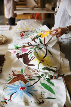 otomi print colorful otomi table runner