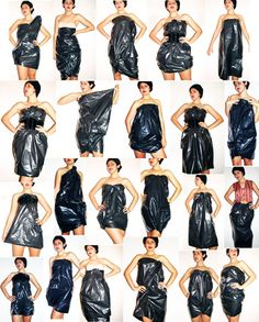All you need is a plastic trash bag, some pins, a belt and creativity!