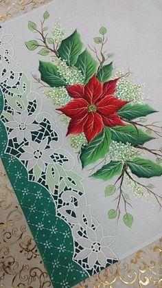 69 Ideas for painting christmas navidad Christmas Card Crafts, Christmas Fabric, Vintage Christmas Cards, Xmas Cards, Christmas Art, One Stroke Painting, Tole Painting, Fabric Painting, Embroidery Flowers Pattern