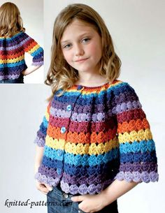 Cute striped cardigan for girl! *** Lindo cardigan a rayas para niña! Pull Crochet, Crochet Diy, Crochet Girls, Crochet For Kids, Diy Crochet Cardigan, Crochet Jacket, Cardigan Pattern, Jacket Pattern, Confection Au Crochet
