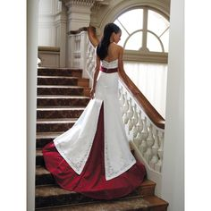 colorful wedding dresses | ... Beaded Informal Designer Color Wedding Dresses with Red Trim hiwdmc1