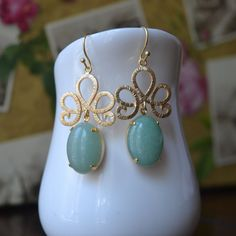 Aventurine Stone Gold Drop Earrings-Natural by GlamNecessities