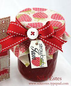Strawberry Jam gift giving labels Jam Jar Labels, Jam Label, Canning Labels, Christmas Jam, Christmas Hamper, Christmas Bulbs, Christmas Decorations, Jam Packaging, Little Presents