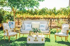Elizabeth Louis Lounge Set | Rochelle Chairs | White Gold Trunks