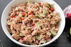 Thai Tuna Salad.  Simple and yummy for lunch at work.  Maybe put it inside a lettuce wrap?