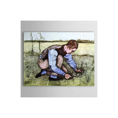 [$103.99] Hand Painted Hard Working Boy Landscape Oil Painting - Free Shipping