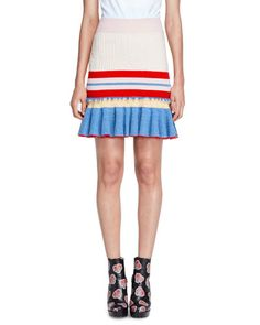 ALEXANDER MCQUEEN STRIPED KNIT FLOUNCE SKIRT, RED/PINK/YELLOW. #alexandermcqueen #cloth #