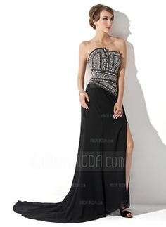 A-Line/Princess Scalloped Neck Court Train Chiffon Evening Dress With Beading Split Front