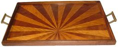 Wood tray with sunray effect, www.deco-world.com Drinks Tray, Deco Interiors, Chevron Patterns, Art Deco Furniture, Wood Tray, Upcycled Vintage, Cubism, Geometric Shapes, Home Furnishings