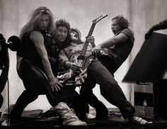Van Halen - David Lee Roth, Alex Van Halen, Eddie Van Halen, and Michael Anthony Eddie Van Halen, Alex Van Halen, Sammy Hagar, David Lee Roth, Def Leppard, Aerosmith, Music Stuff, My Music, Rock Music