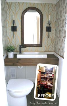 Add a bathroom anywhere! (This DIY powder room was a basement closet.) We turned a closet into a sma Basement Closet, Small Basement Bathroom, Add A Bathroom, Bathroom Ideas, Bathroom Closet, Target Bathroom, Funny Bathroom, Gold Bathroom, Bath Ideas