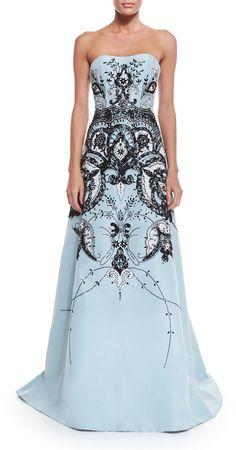 #CarolinaHerrera Strapless Embroidered #Gown, Baby Blue