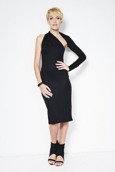 One shoulder dress with a twist. Elegant, unique, versatile, the dress is structured so that the sleeve flips around the neck and can be worn on