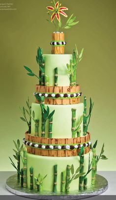 Bamboo Themed Wedding Cake Tablescape Centerpiece www.tablescapesbydesign.com https://www.facebook.com/pages/Tablescapes-By-Design/129811416695