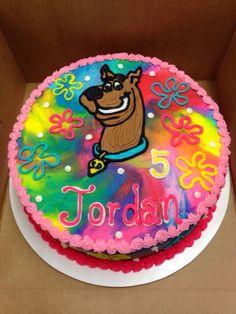 Scooby Doo Birthday Cake with Tye-Dye Icing