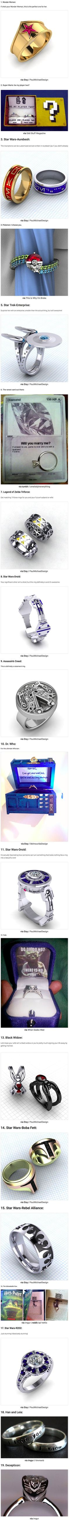 Here are some cool and creative wedding as well as engagement rings that