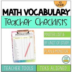 1st Grade Teacher Tools: Math Vocabulary Checklists. 100% TEKS Aligned! What are all the math vocabulary terms my students need to know for this grade level? Which math vocabulary terms are brand new for this grade level? This resource provides a Master List of Vocabulary Terms for the grade level, ... First Grade Teachers, 1st Grade Math, Grade 1, I Hate Math, Love Math, Teacher Checklist, Student Voice, Teacher Freebies, Math Vocabulary