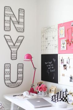 How to Style a Desk 3 Ways: for the Student, the Post-grad & the Career Woman // dorm style Workspace Inspiration, Room Inspiration, Home Office, Girl Desk, Boho Deco, Dorm Life, Man Room, Letter Wall, Bedroom Decor
