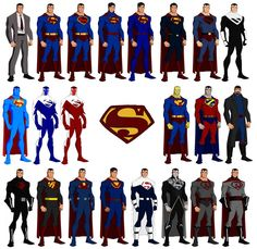 As I did with Batman, here are some Supermen based on Phil Bourassa's design for Young Justice ! His Superman is obviously the third on the left. UPDATE February 2018 : I revised the position of ea. Hellboy Characters, Superman Characters, Comic Book Characters, Comic Books, Mundo Superman, Superman Man Of Steel, Batman And Superman, Dc Comics Superheroes, Dc Comics Art