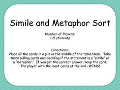 Figurative Language is tough, this Simile and Metaphor Game can help students practice.